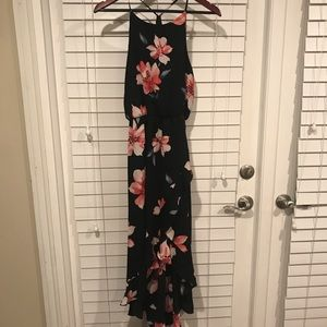 Soprano large black floral maxi high low dress